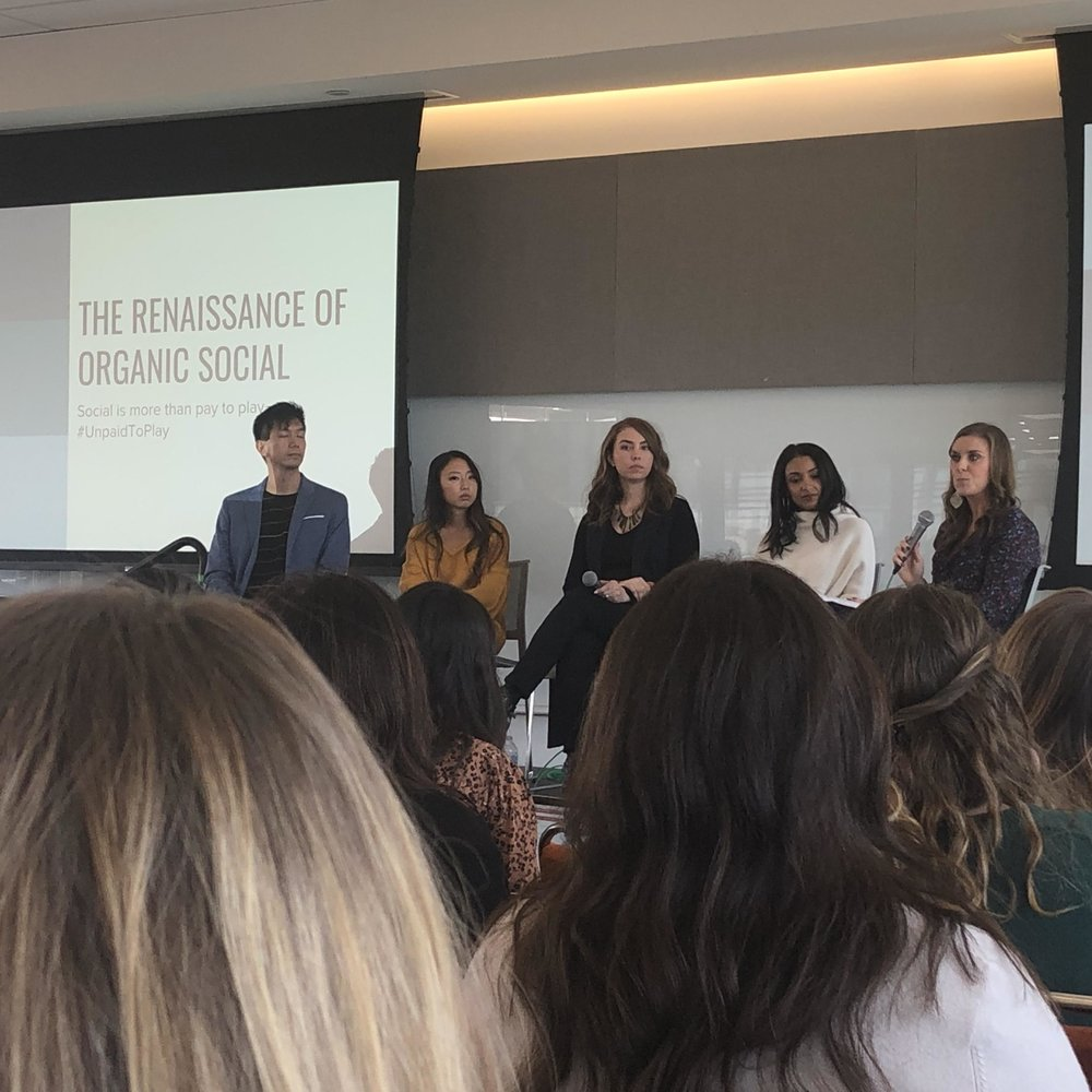 Belle Hunter, Mairin Annen, Rafiq el Arculli, Caitlin Williamson lead the organic social marketing talk.