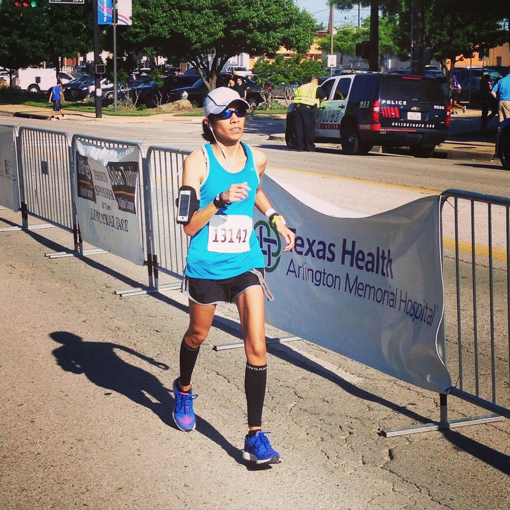 Pushing toward the finish line at the Lone Star Half Marathon in Arlington, Texas in 2015.