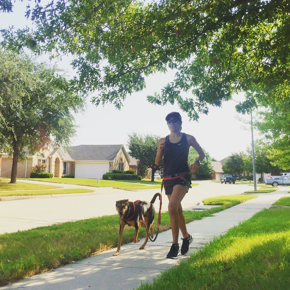 Finishing a hot run with my best running partner Prince.