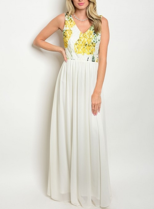 Yellow and White Floral Maxi Dress — Shopping In The AM 22b6a2aed