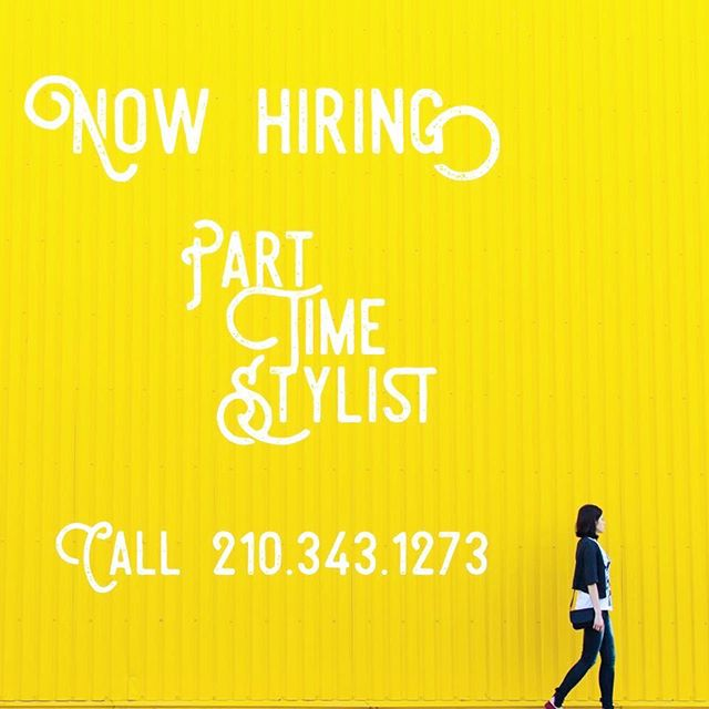 Are you TALENTED?  Join our beauty team!  We are NOW HIRING! •Flex Schedule •up to 60 % on some services •Amazing work environment •Top notch salon complete with staff •Walk In Traffic  DM us or call 210.343.1273 to inquire about position.