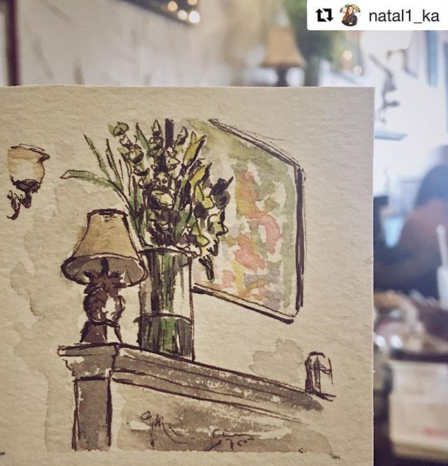 LOVE this watercolor by @natal1_ka of our mantel and @graphic.poetry.trans.sensory 's art! • • • #repost #sketch #pineapple #pineapplelamp #bouquet #vase #flowers #painting #artception #artinception #fireplace #art #lamp #ilovelamp #downtownevanston #buzzedonkafein #evanston #talent #customerappreciation #evanston #butfirstcoffee #watercolor