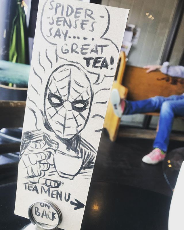🖊🖤🕷 • • •  #spideysenses #tea #converse #chucks #buzzedonkafein #cafe #kafein #evanston #coffeehouse #artist #art #marker #coolcustomers #chris #badass