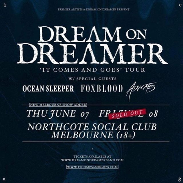 @foxbloodau & @advocatesofficial supporting the mighty @dreamondreamerband at a SOLD OUT @northcotesocialclub tonight!