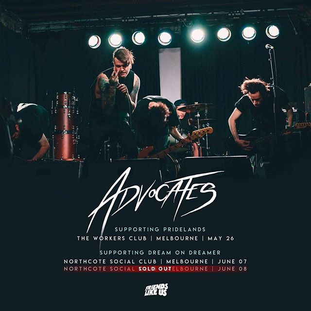 @advocatesofficial have just come out of the studio and are ready to unleash a new wave of heavy upon you all soon. Catch them live supporting @dreamondreamerband and @pridelands_ and you may get a sneak at some new music (but you didn't hear it from us 🤫).