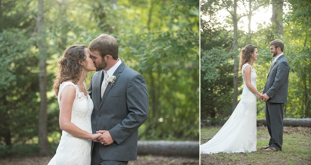 the happily married couple kiss as they arrive at Hickory Ridge Lodge for their wedding reception