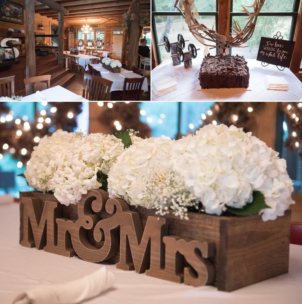 Hickory Ridge Lodge wedding reception using blue and white hydrangeas as centerpieces