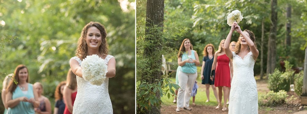laughing bride tosses her bouquet as all the single ladies in the background scramble to catch it