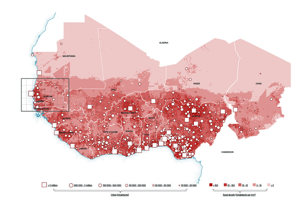 "Population map of West Africa: there is no clear spatial divide between ""rural"" and ""urban""; in fact, there is a gradual crystallization of the rural population around existing urban agglomerations (i.e. their main economic market), thereby transforming the countryside into an intricate web of hybrid constellations."