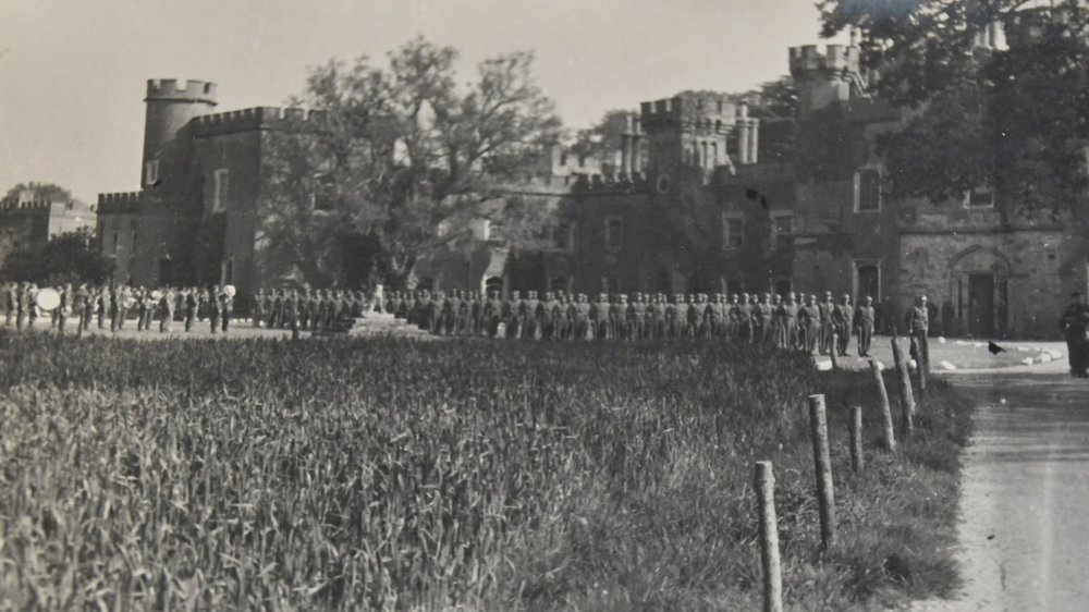 The Canadian 3rd Division parading in front of Knepp in 1943. The Repton Park went under the plough, part of the Dig for Victory campaign. It had probably never been ploughed before. This was its first crop of wheat.