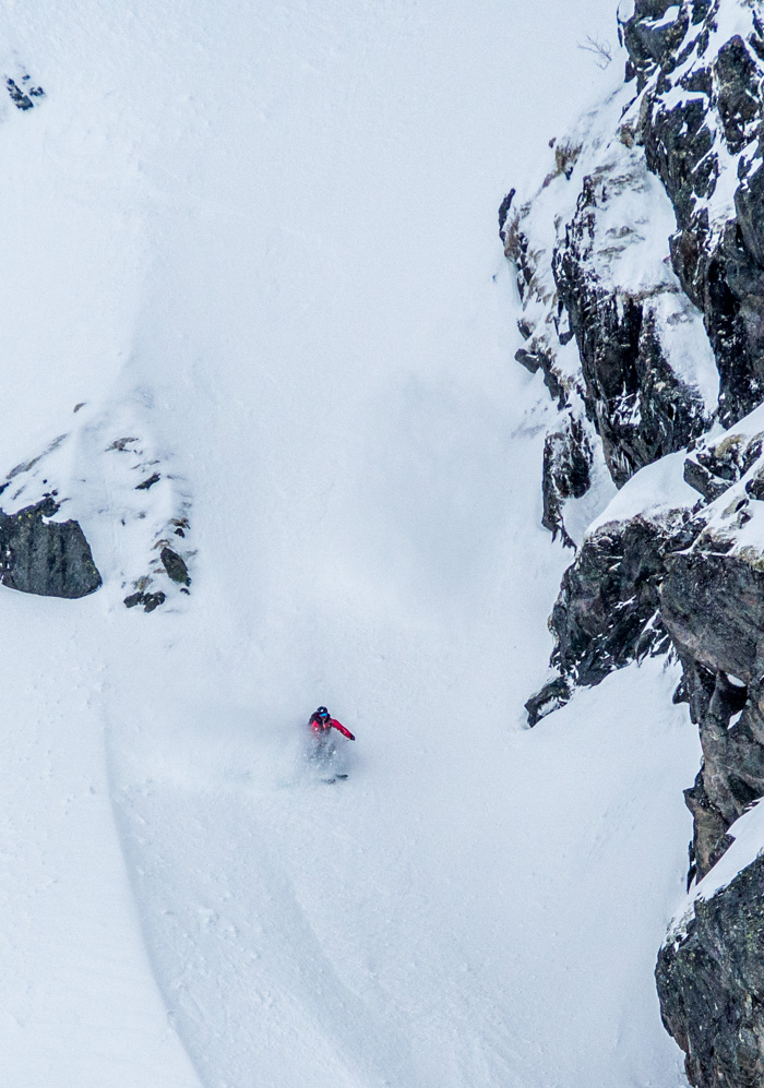 Pete scoring a couloir to himself while the other ski tourers take the easy way down. Photo: Sophie Stevens