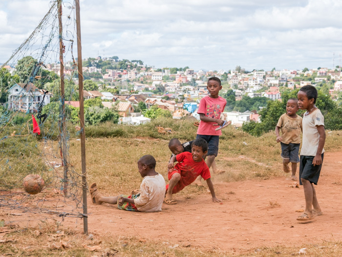 Local kids enjoy Sunday afternoon football in a outer suburb of Antananarivo