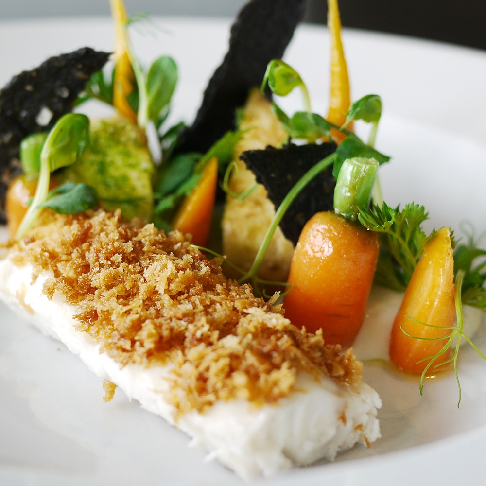 Grilled cod with seasonal vegetables