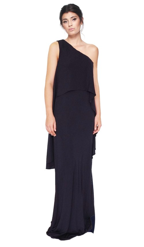 Draped Navy One Shoulder Gown - DAVID MEISTER — Chic by Choice Sale
