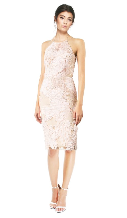 Blush Flower Lace Back Cocktail Dress - MARCHESA NOTTE — Chic by ...