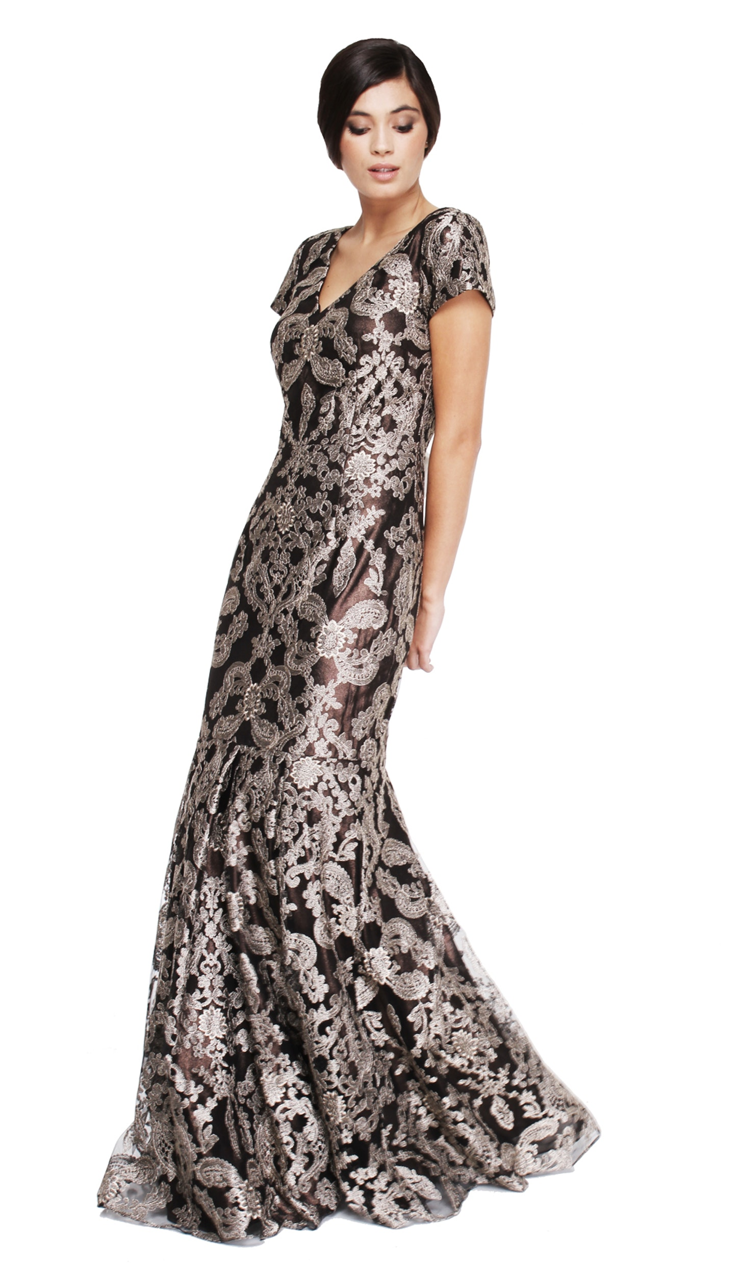 V Neck Embroidered Cap Sleeve Gown - DAVID MEISTER — Chic by Choice Sale