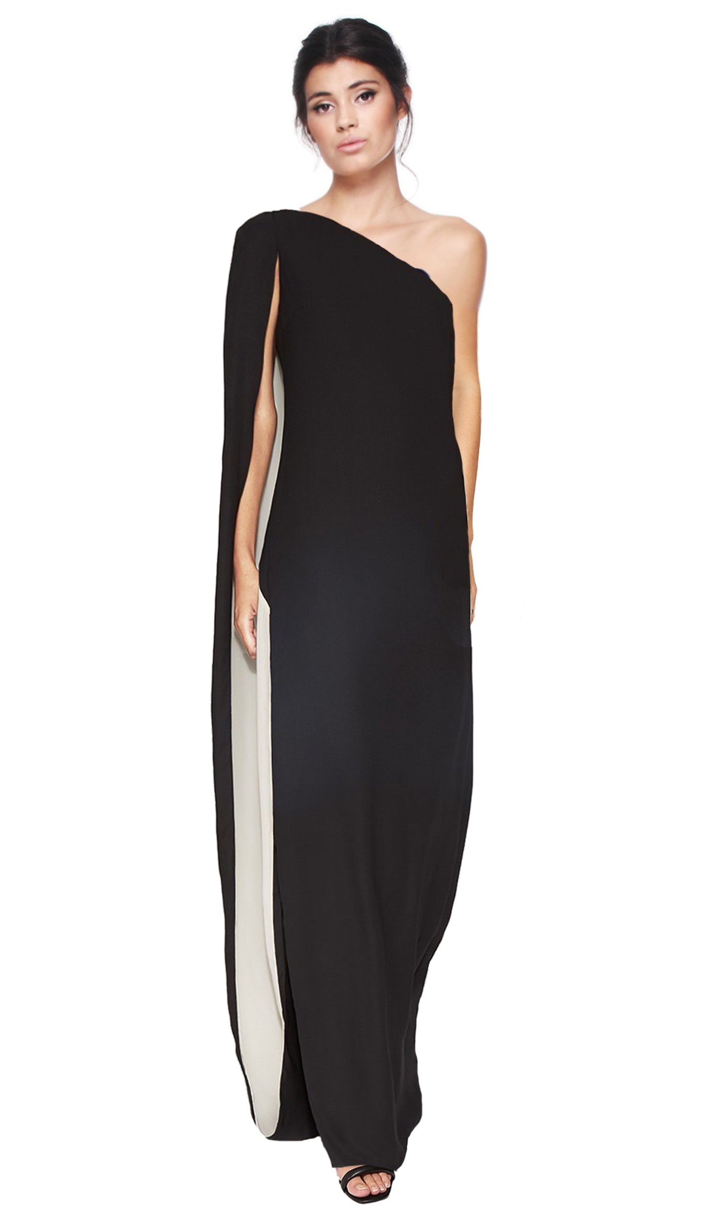 One Shoulder Column Cape Gown - HALSTON HERITAGE — Chic by Choice Sale