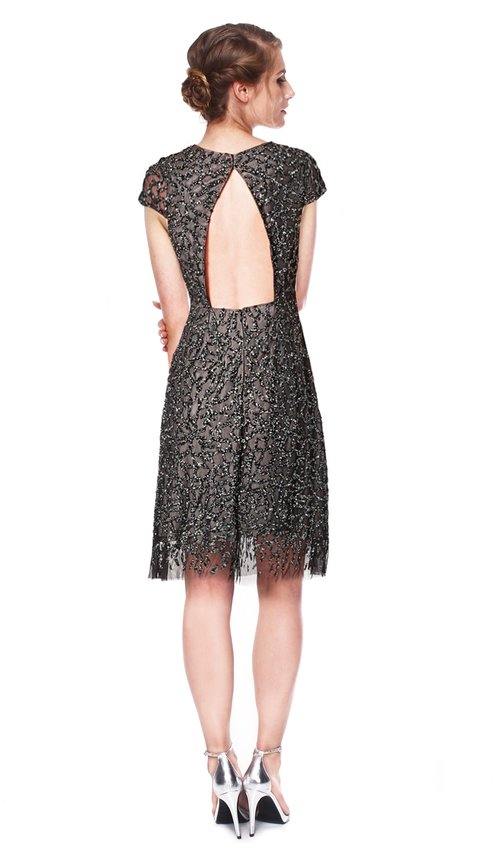 Grey Embellished Cocktail Dress - ML MONIQUE LHUILLIER — Chic by ...
