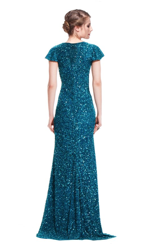 Teal Embroidered Sequin Gown - THEIA COUTURE — Chic by Choice Sale
