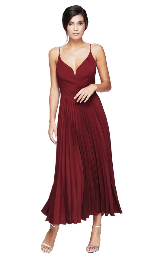 Burgundy Pleated Dress - NICOLE MILLER — Chic by Choice Sale