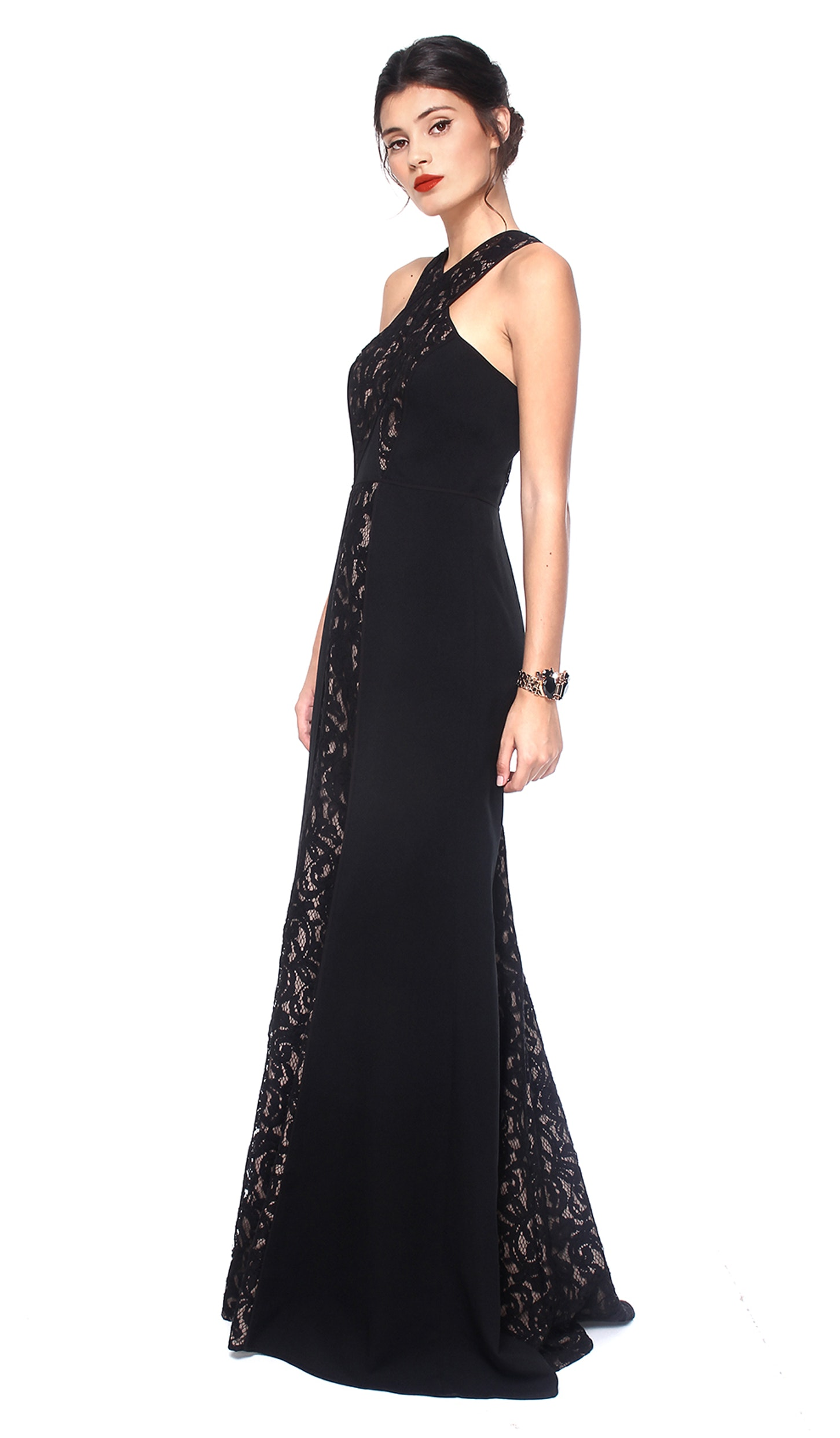 Black Lace Crossover-Neck Gown - BCBG MAX AZRIA — Chic by Choice Sale