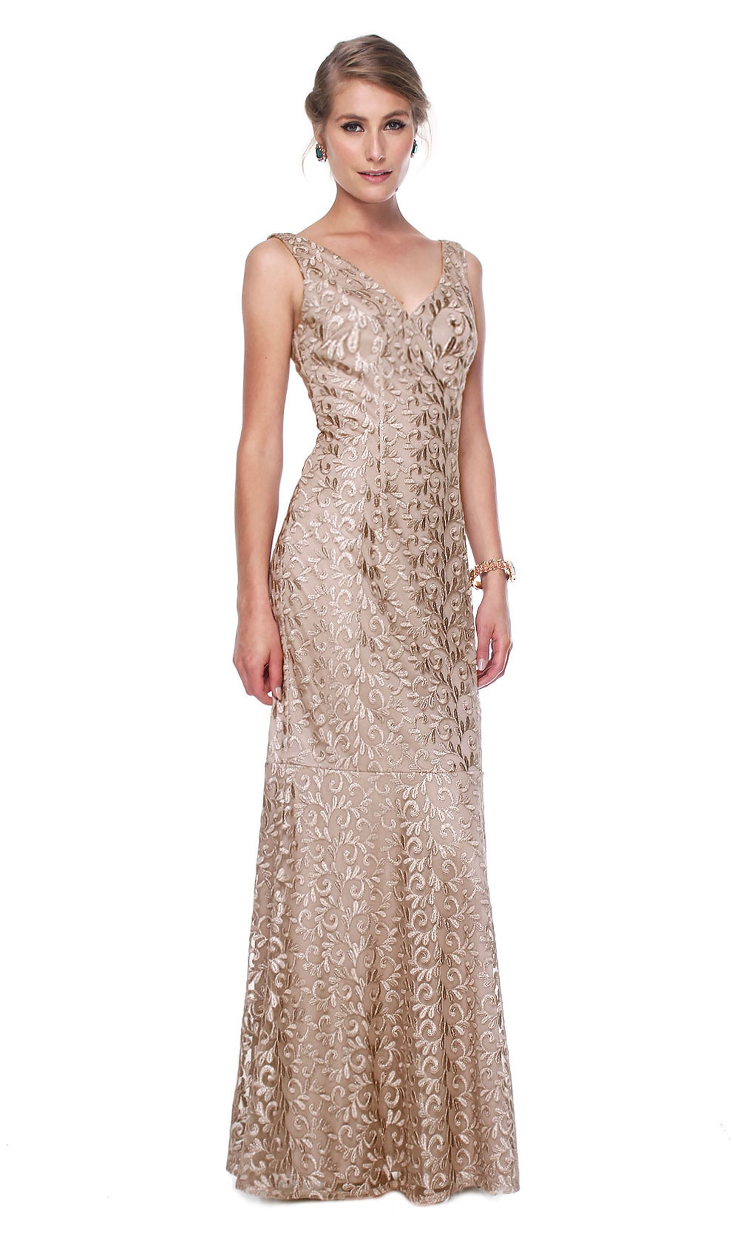 Golden Embroidered V-neck Gown - DAVID MEISTER — Chic by Choice Sale