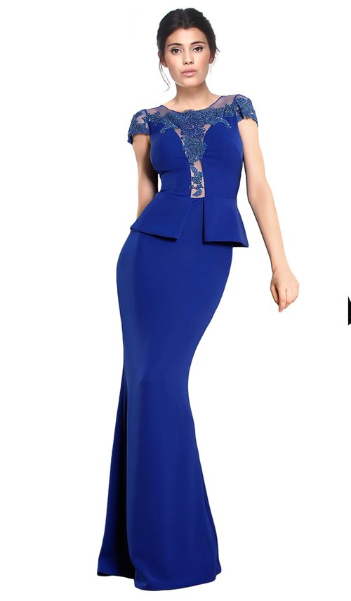 Blue Embellished Peplum Gown - CRISTALLINI — Chic by Choice Sale