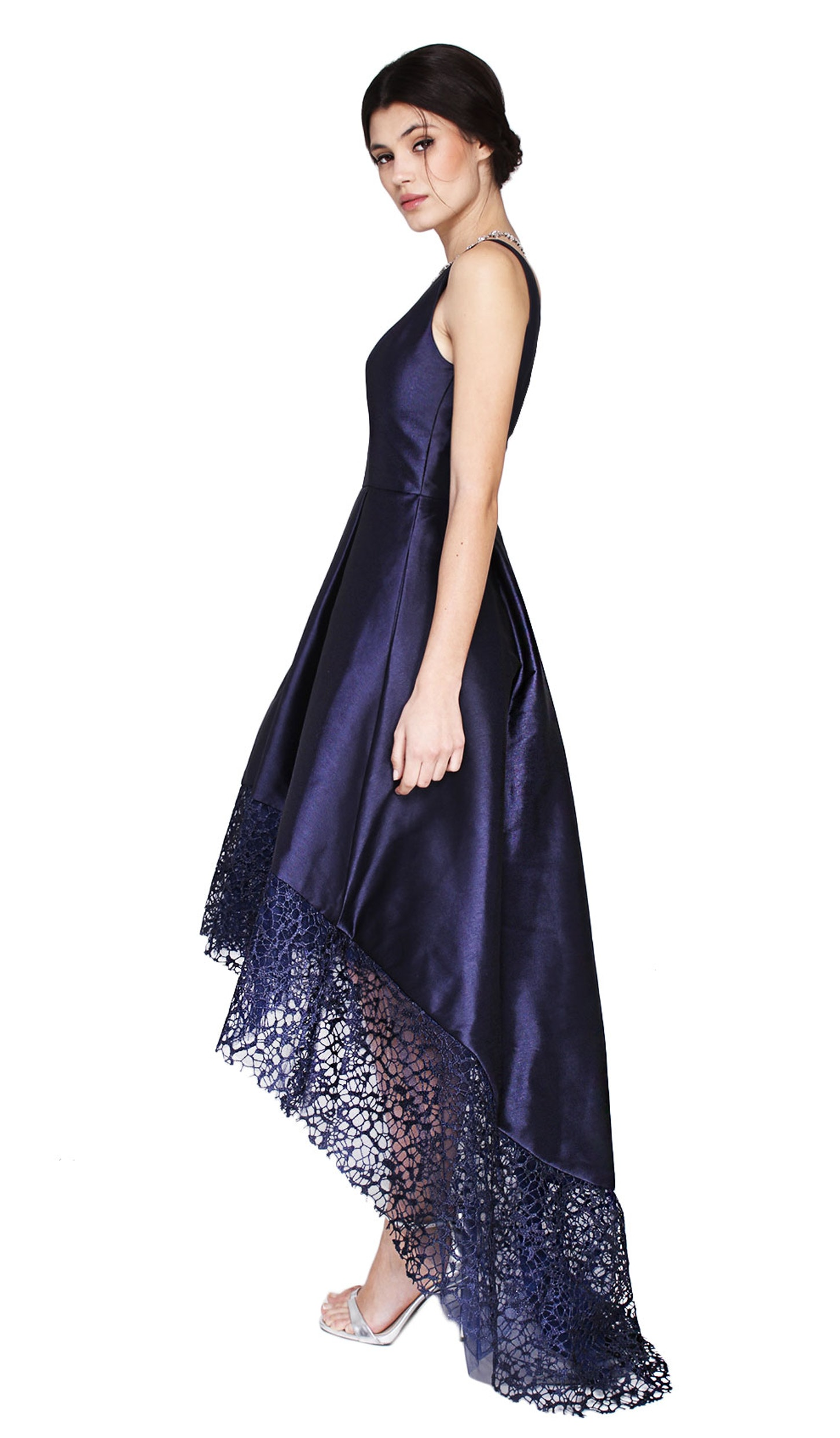 Hi Lo Lace Hem V Neck Dress - ML MONIQUE LHUILLIER — Chic by ...