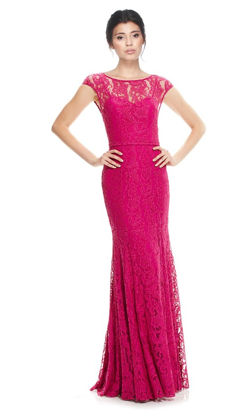 Lace Cap Sleeve Gown - THEIA COUTURE — Chic by Choice Sale