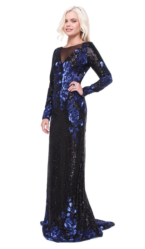 Black and Blue Sequin Gown - BADGLEY MISCHKA — Chic by Choice Sale