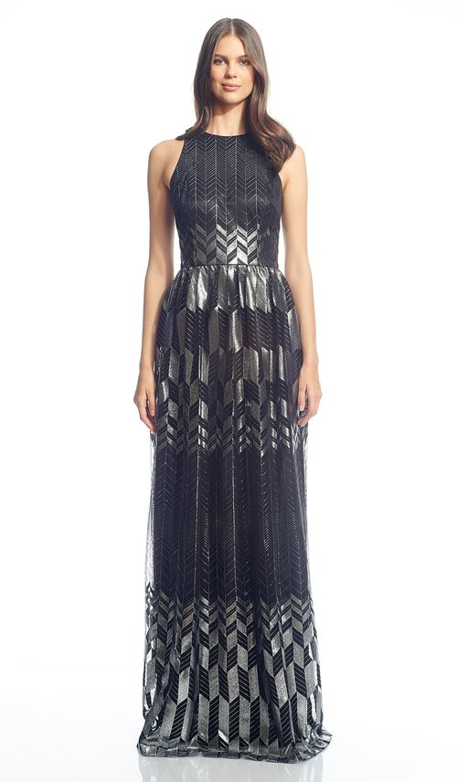 Metallic Silver Black Gown - DAVID MEISTER — Chic by Choice Sale