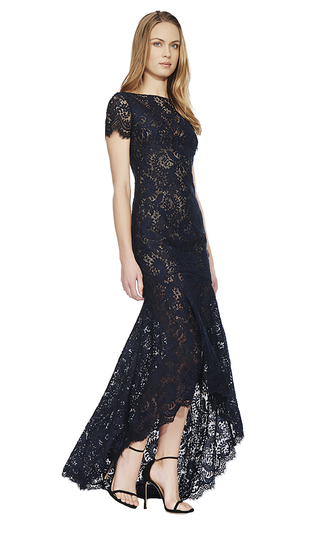 Navy Lace Gown - THEIA COUTURE — Chic by Choice Sale