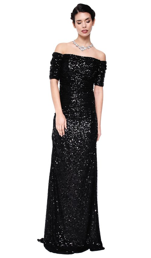 Off-the-Shoulder Black Sequin Gown - BADGLEY MISCHKA — Chic by ...