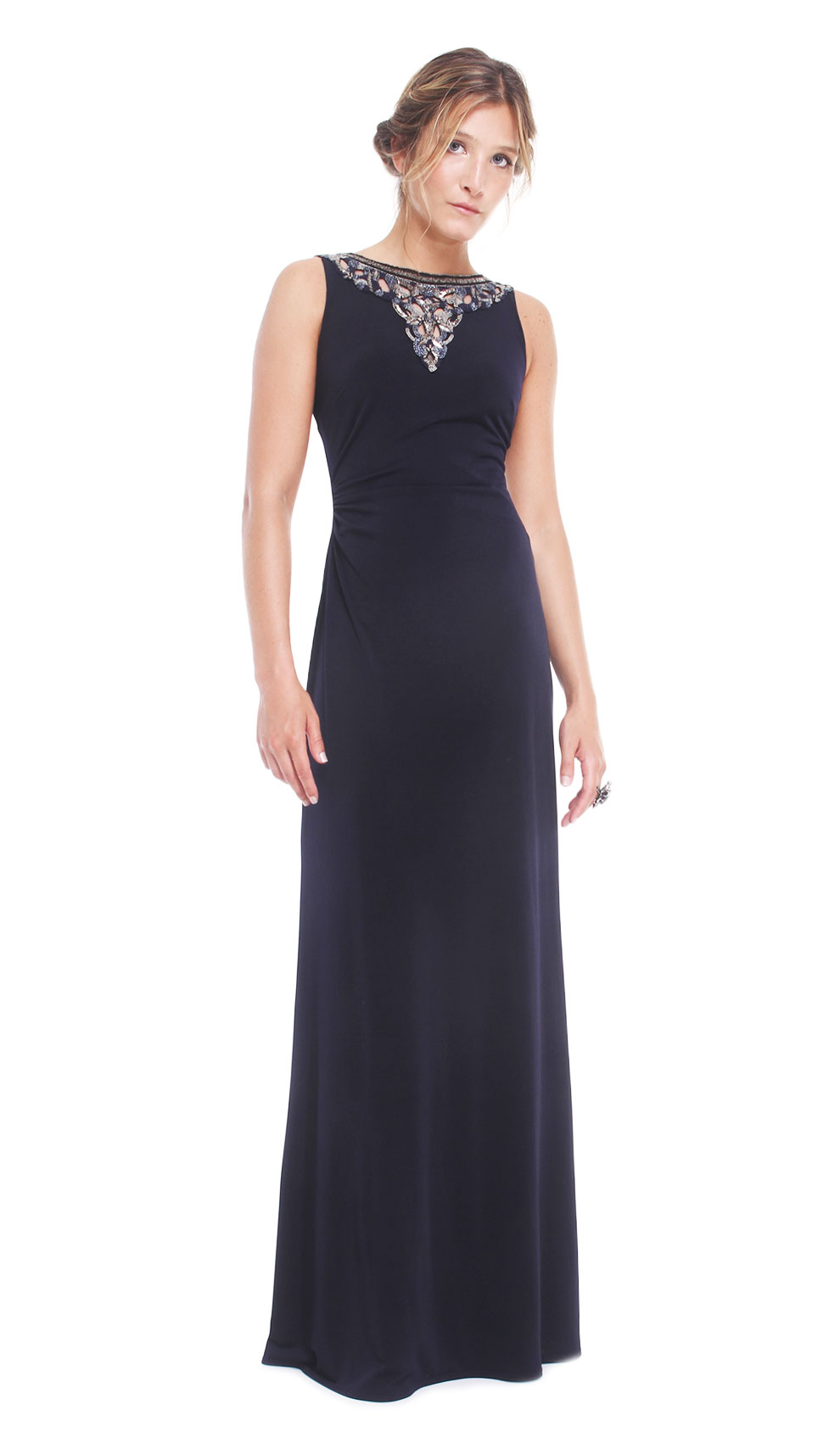 Navy Blue Embroidered Gown - DAVID MEISTER — Chic by Choice Sale