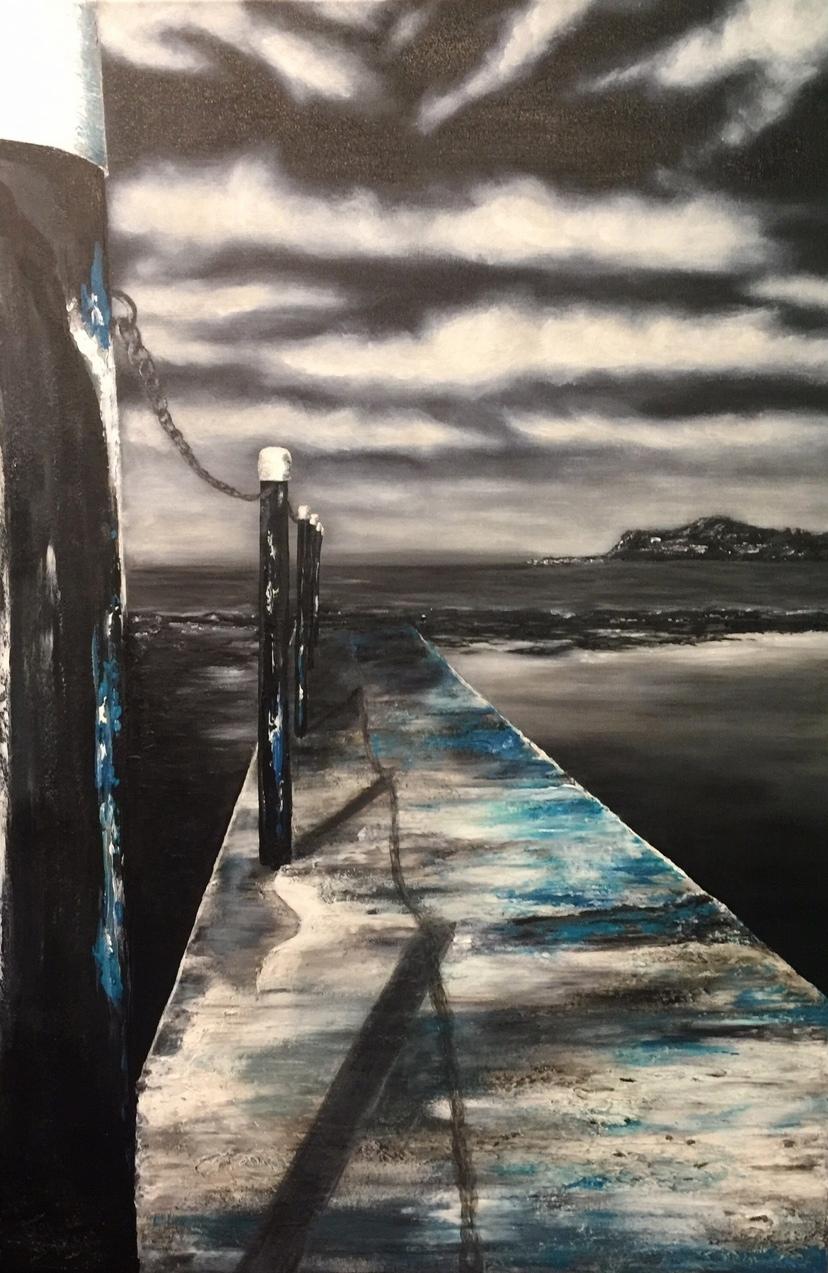 'Mona Vale Beach Baths'Acrylic 90cm x 60cm FOR SALE