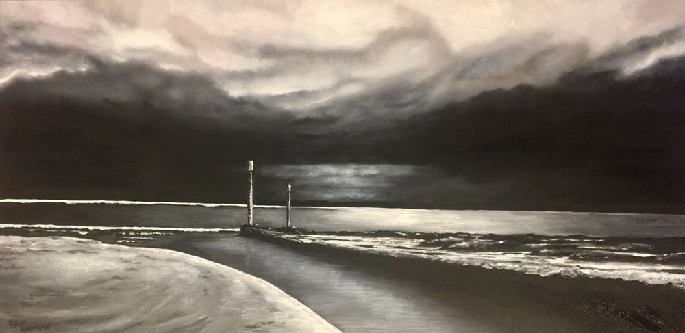 'The Inlet' Acrylic on canvas 90cm x 45cm FOR SALE
