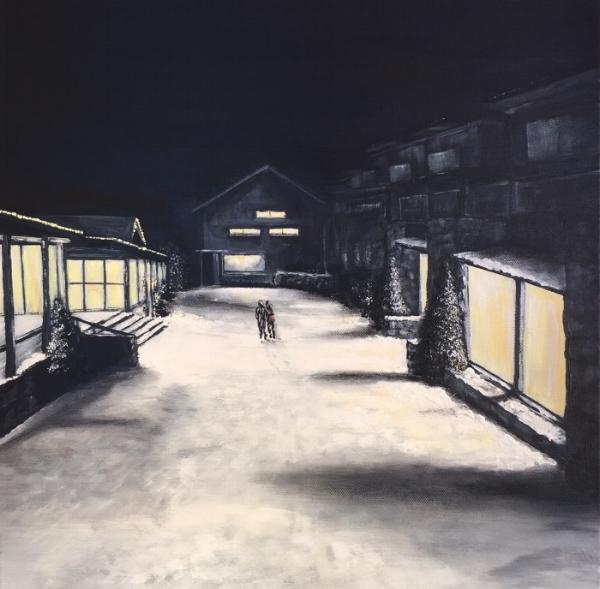 'Thredbo At Night'Acrylic on canvas 45cm x 45cm FOR SALE