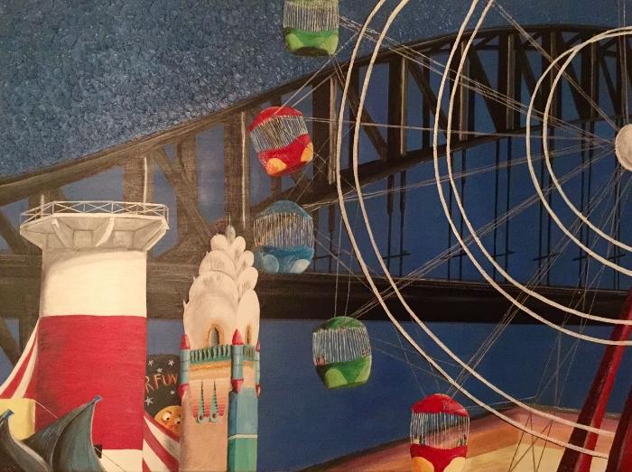 Luna Park Sydney, Acrylic on canvas 180cm x 110cm SOLD