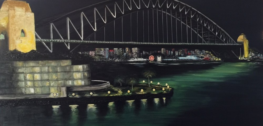 'Sydney Harbour Bridge At Night' Acrylic on canvas 150cm x90cm Commission SOLD