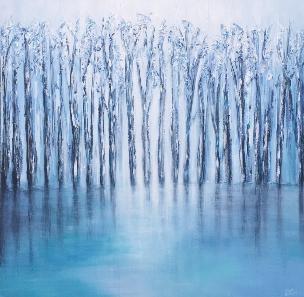 'Blue Reflections' Acrylic on canvas 76cm x 76cm SOLD