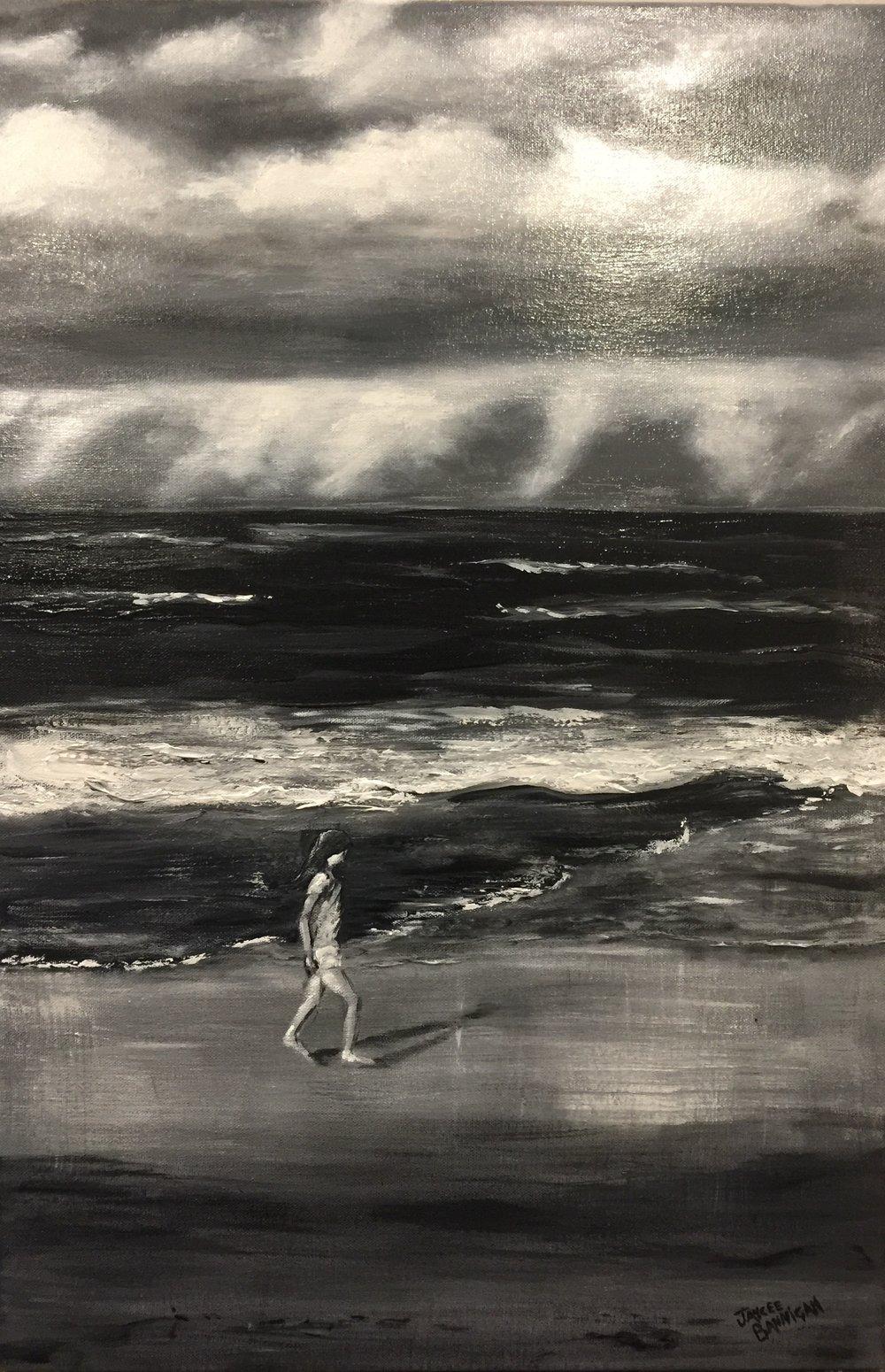 'Winter Beach' Acrylic on canvas