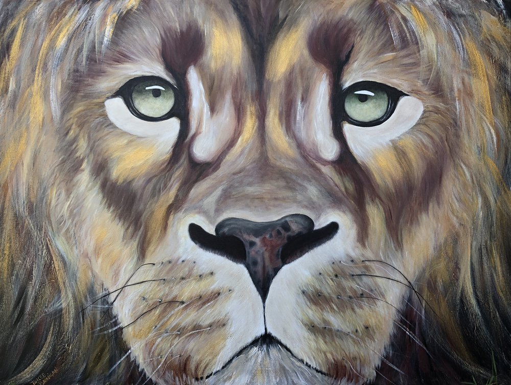 """In a Lions Eyes"" Acrylic on stretched canvas 101cm x 76cm NOT FOR SALE"