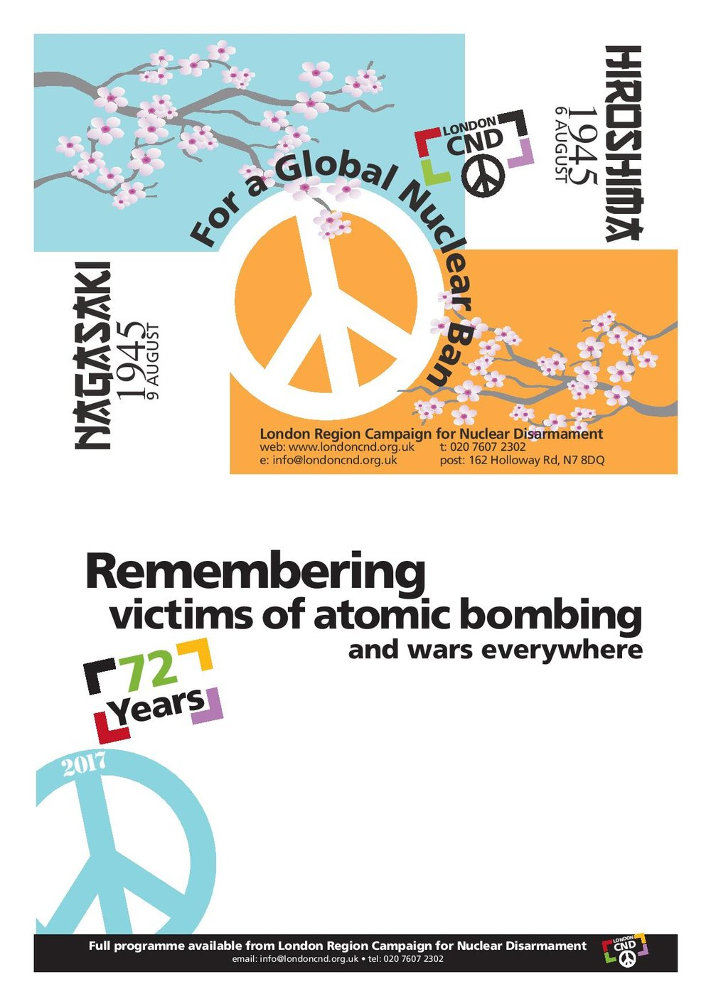 Download 2017 Hiroshima and Nagasaki Event Leaflet - A double sided A5 design with a blank section to add details of your local commemoration events
