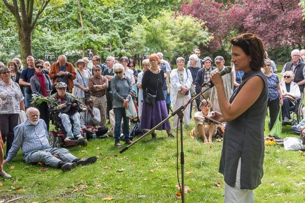 Hiroshima Day 2017 at Tavistock Square gardens - Crowds of people were able to commemorate Hiroshima Day in London in the sun this year, all funded by supporters.