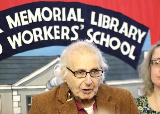 Walter Wolfgang receiving his award at the Marx Memorial Library