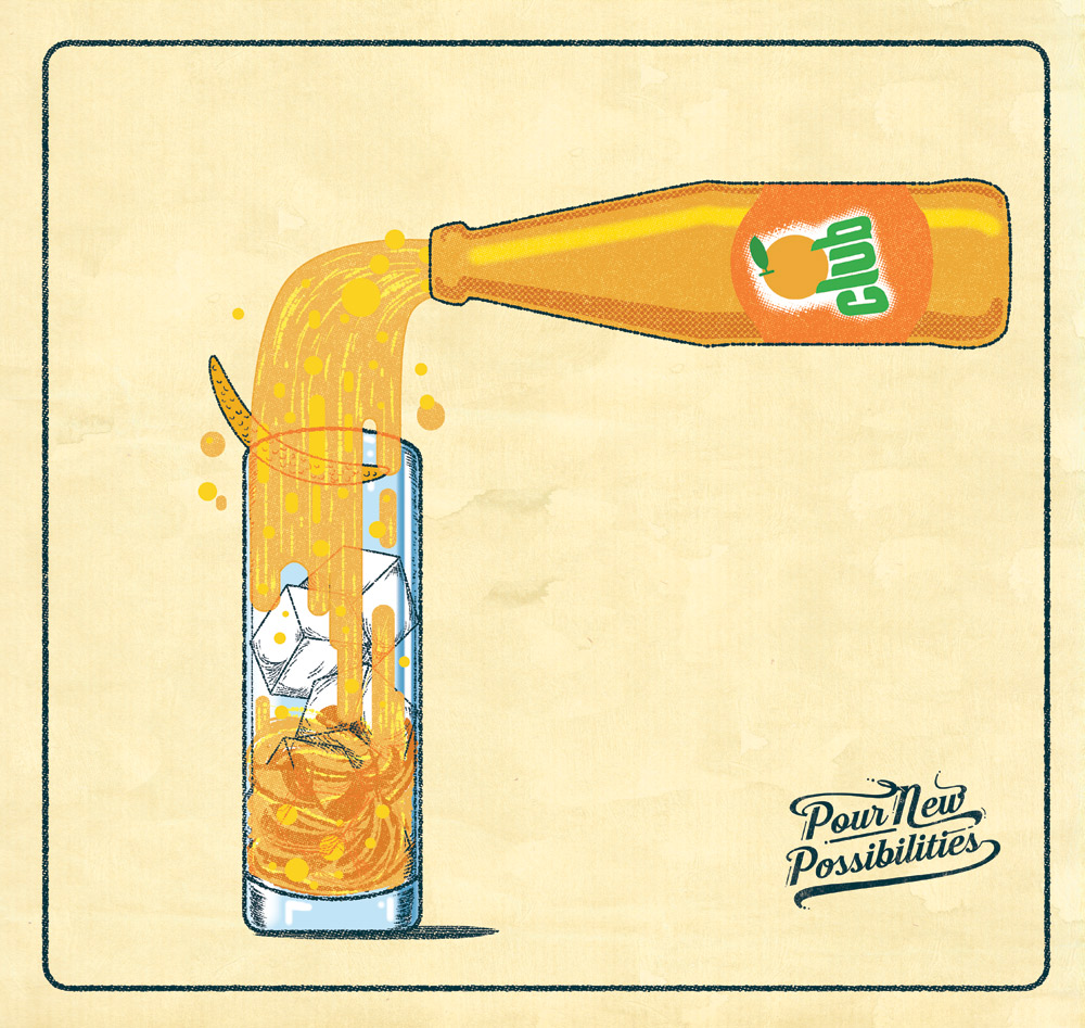 Promotional illustration for Britvic soft drinks.