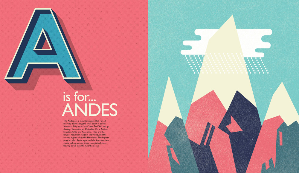 Self-initiated publication 'The A-Z of South America', an illustrated guide to the continent.