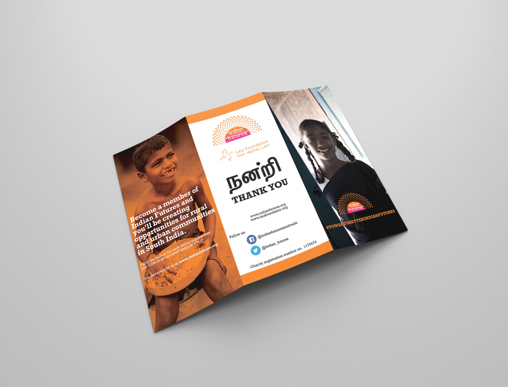 Pamphlet design, Indian Futures charity.