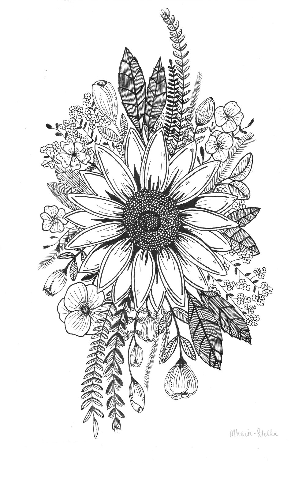 Sunflower and Grains Tattoo design 2017.