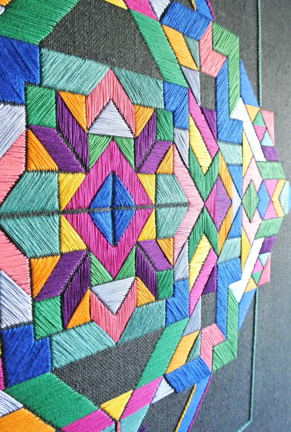 Zuzana Lalikova - Born in Slovakia and educated in the UK, Zuzana Lalikova uses traditional Slovakian embroidery techniques to produce large scale contemporary wall hangings. Geometrics and colour are a recurring theme through out the collections creating contemporary wall art for interiors and public spaces. Zuzana has previously been invited to produce live embroidery installations for The Courtauld Gallery and Animali Domestici Gallery.